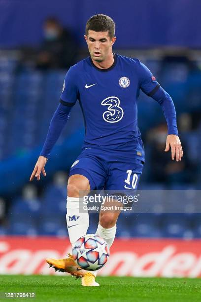 Christian Pulisic of Chelsea FC in action during the UEFA Champions League Group E stage match between Chelsea FC and Sevilla FC at Stamford Bridge...