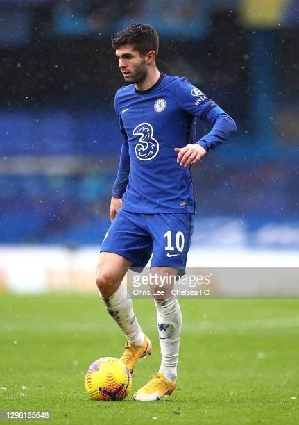 Christian Pulisic of Chelsea in action during The Emirates FA Cup Fourth Round match between Chelsea and Luton Town at Stamford Bridge on January 24,...