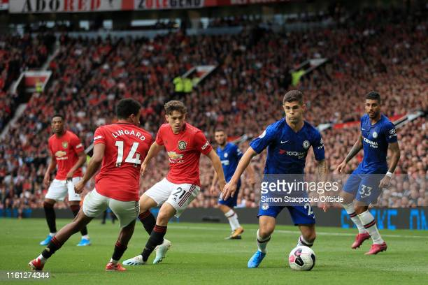 Christian Pulisic of Chelsea in action during the Premier League match between Manchester United and Chelsea at Old Trafford on August 11 2019 in...