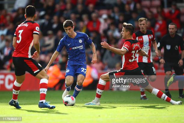Christian Pulisic of Chelsea in action during the Premier League match between Southampton FC and Chelsea FC at St Mary's Stadium on October 06 2019...