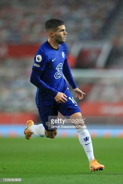 Christian Pulisic of Chelsea in action during the Premier League match between Manchester United and Chelsea at Old Trafford on October 24 2020 in...