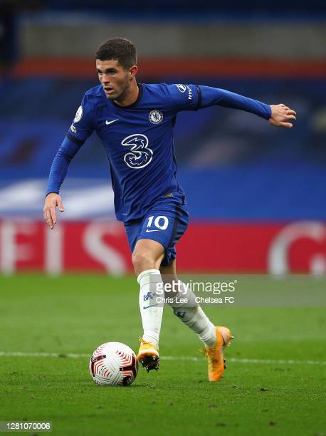 Christian Pulisic of Chelsea in action during the Premier League match between Chelsea and Southampton at Stamford Bridge on October 17 2020 in...