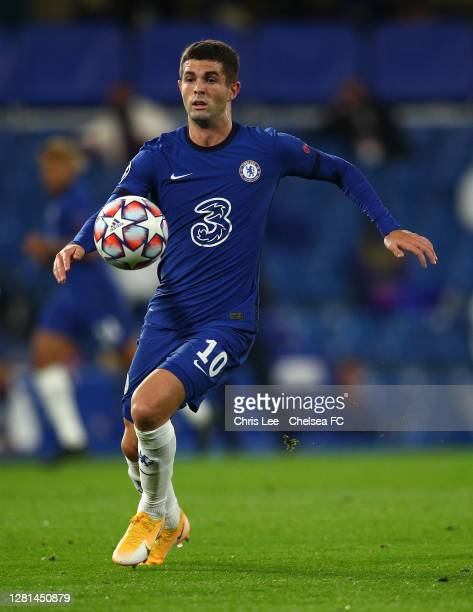 Christian Pulisic of Chelsea in action during the UEFA Champions League Group E stage match between Chelsea FC and FC Sevilla at Stamford Bridge on...