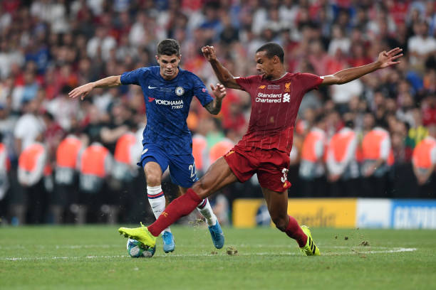 SUPER COUPE EUROPE UEFA 2019 Christian-pulisic-of-chelsea-is-challenged-by-joel-matip-of-liverpool-picture-id1168042436?k=6&m=1168042436&s=612x612&w=0&h=vco8LjtWRPi90iaCRIA8DNbU8XBmCSAx3CBkZ1RShV8=