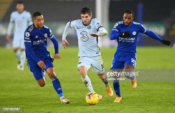 Christian Pulisic of Chelsea is challenged by Youri Tielemans and Ricardo Pereira of Leicester City during the Premier League match between Leicester...