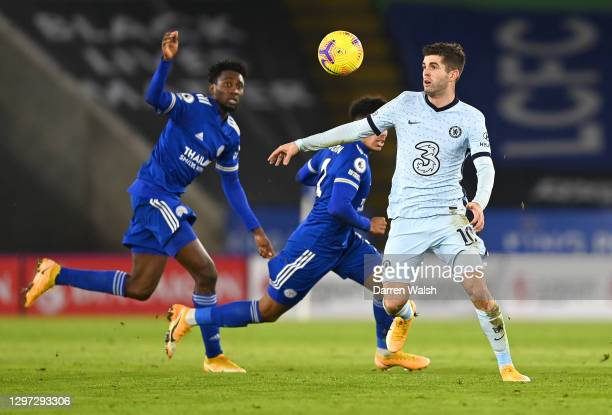 Christian Pulisic of Chelsea looks to control the ball during the Premier League match between Leicester City and Chelsea at The King Power Stadium...