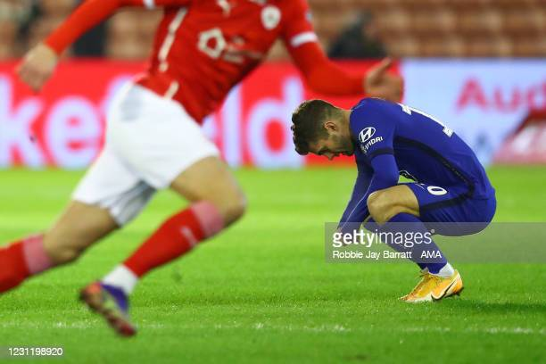 Christian Pulisic of Chelsea reacts during The Emirates FA Cup Fifth Round match between Barnsley and Chelsea at Oakwell Stadium on February 11, 2021...