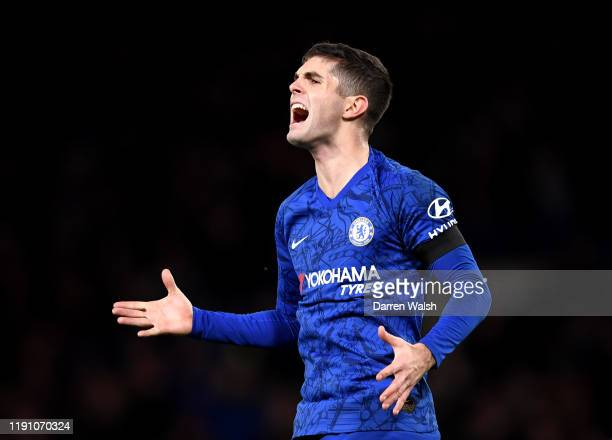 Christian Pulisic of Chelsea reacts during the Premier League match between Chelsea FC and West Ham United at Stamford Bridge on November 30 2019 in...