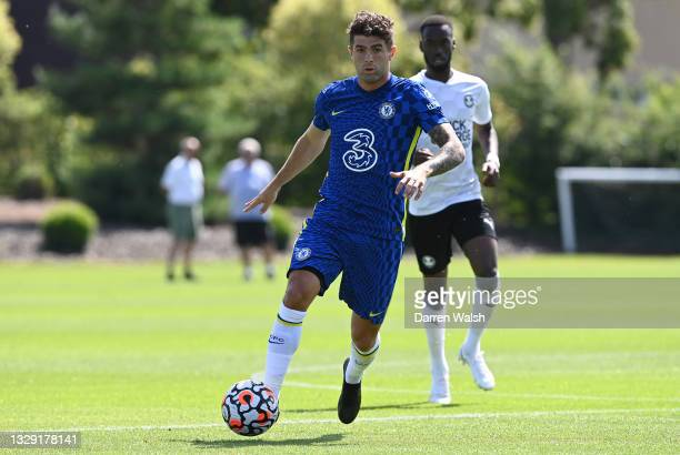 Christian Pulisic of Chelsea runs with the ball during a Pre-Season Friendly between Chelsea and Peterborough United at Chelsea Training Ground on...