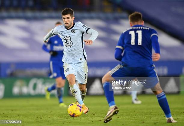 Christian Pulisic of Chelsea runs with the ball during the Premier League match between Leicester City and Chelsea at The King Power Stadium on...