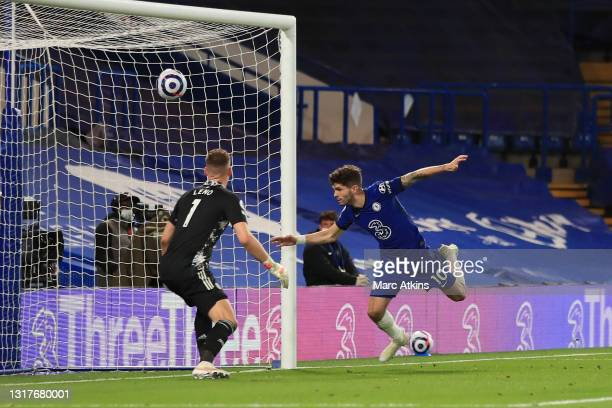 Christian Pulisic of Chelsea scores a goal past Bernd Leno of Arsenal which is later disallowed due to offside following a VAR review during the...