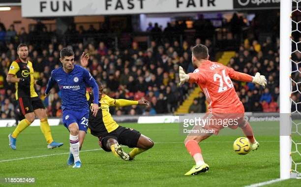 Christian Pulisic of Chelsea scores his team's second goal during the Premier League match between Watford FC and Chelsea FC at Vicarage Road on...