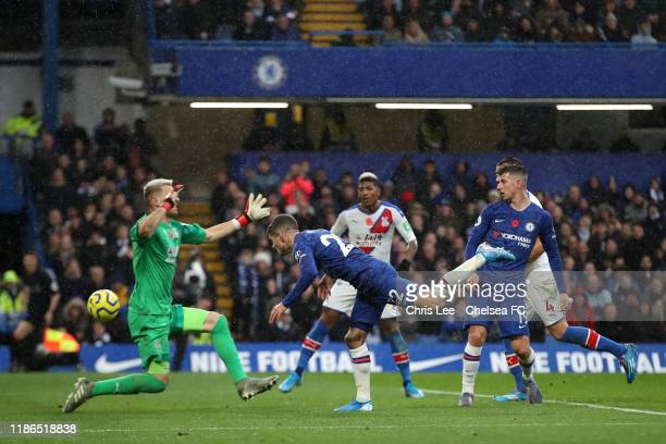 Christian Pulisic of Chelsea scores his team's second goal during the Premier League match between Chelsea FC and Crystal Palace at Stamford Bridge...