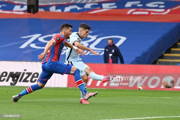Christian Pulisic of Chelsea scores his team's second goal during the Premier League match between Crystal Palace and Chelsea FC at Selhurst Park on...