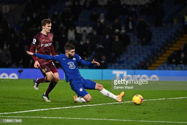 Christian Pulisic of Chelsea scores their team's third goal during the Premier League match between Chelsea and Leeds United at Stamford Bridge on...