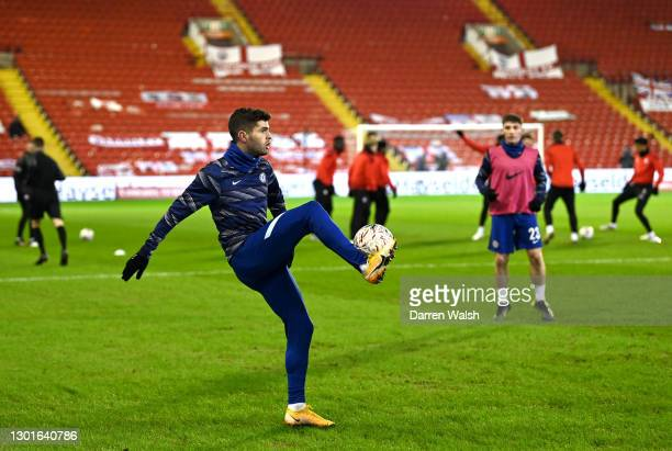 Christian Pulisic of Chelsea warms up prior to The Emirates FA Cup Fifth Round match between Barnsley and Chelsea at Oakwell Stadium on February 11,...