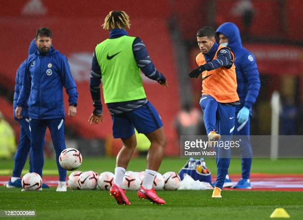 Christian Pulisic of Chelsea warms up prior to the Premier League match between Manchester United and Chelsea at Old Trafford on October 24 2020 in...