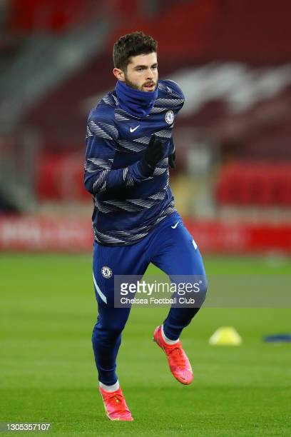 Christian Pulisic of Chelsea warms up prior to the Premier League match between Liverpool and Chelsea at Anfield on March 04, 2021 in Liverpool,...