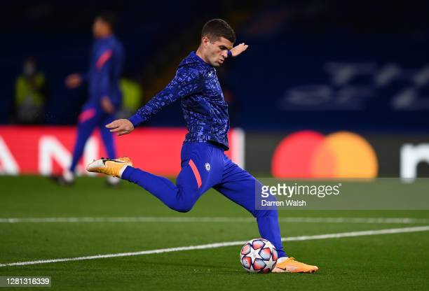 Christian Pulisic of Chelsea warms up prior to the UEFA Champions League Group E stage match between Chelsea FC and FC Sevilla at Stamford Bridge on...