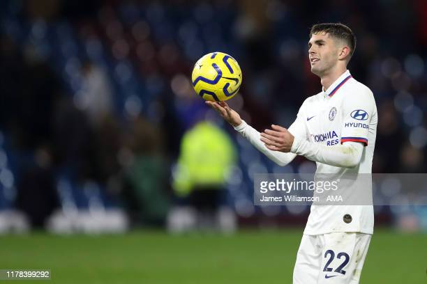 Christian Pulisic of Chelsea with the match ball at full time after scoring a hat trick in the Premier League match between Burnley FC and Chelsea FC...