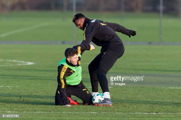 Christian Pulisic of Dortmund and DanAxel Zagadou of Dortmund battle for the ball during a training session at BVB trainings center on January 30...