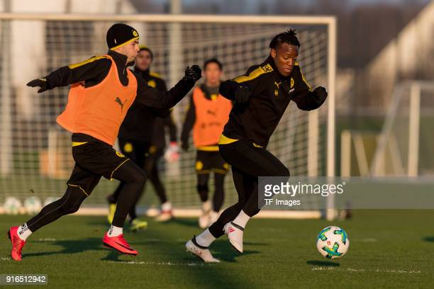 Christian Pulisic of Dortmund and Michy Batshuayi of Dortmund battle for the ball during a training session at BVB trainings center on February 05...