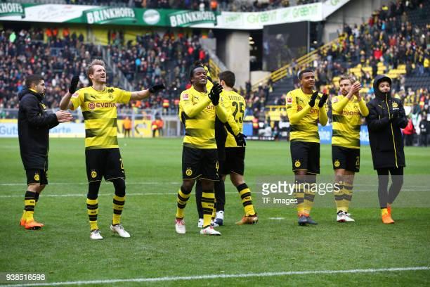 Christian Pulisic of Dortmund Andre Schuerrle of Dortmund Michy Batshuayi of Dortmund Sokratis Papastathopoulos of Dortmund Manuel Akanji of Dortmund...