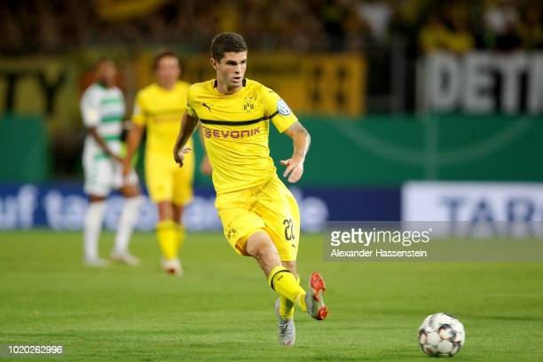 Christian Pulisic of Dortmund battles for the ball with of Fuerth during the DFB Cup first round match between SpVgg Greuther Fuerth and BVB Borussia...