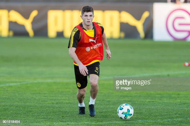 Christian Pulisic of Dortmund controls the ball during the Borussia Dortmund training camp at Marbella Football Center on January 03 2018 in Marbella...