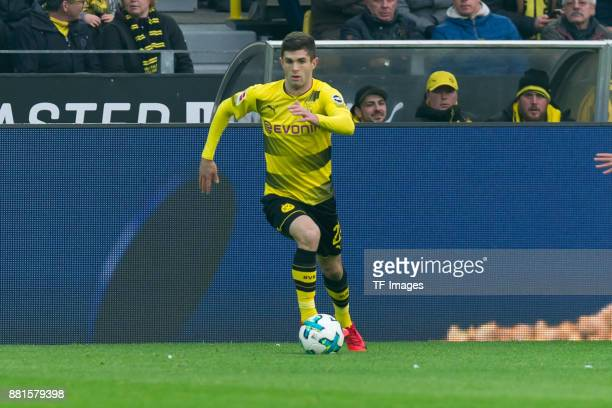 Christian Pulisic of Dortmund controls the ball during the Bundesliga match between Borussia Dortmund and FC Schalke 04 at Signal Iduna Park on...