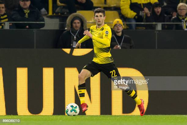 Christian Pulisic of Dortmund controls the ball during the Bundesliga match between Borussia Dortmund and TSG 1899 Hoffenheim at Signal Iduna Park on...