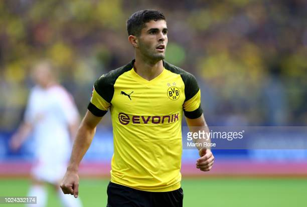 Christian Pulisic of Dortmund gestures during the Bundesliga match between Borussia Dortmund and RB Leipzig at Signal Iduna Park on August 26 2018 in...