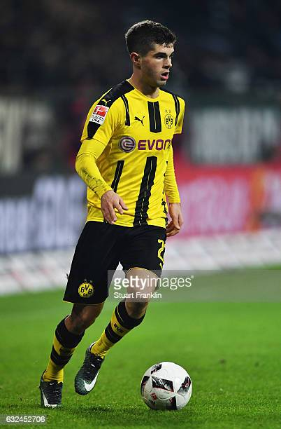 Christian Pulisic of Dortmund in action during the Bundesliga match between Werder Bremen and Borussia Dortmund at Weserstadion on January 21 2017 in...