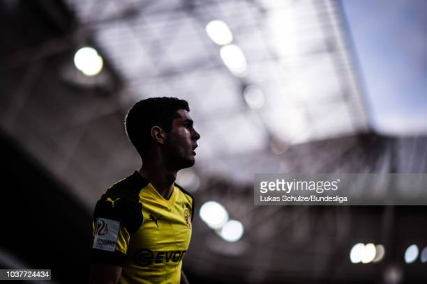 Christian Pulisic of Dortmund is focused during the Bundesliga match between TSG 1899 Hoffenheim and Borussia Dortmund at Wirsol RheinNeckarArena on...