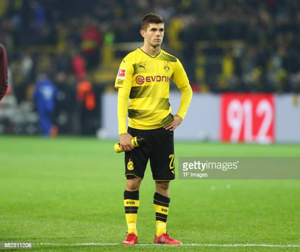 Christian Pulisic of Dortmund looks dejected during the Bundesliga match between Borussia Dortmund and FC Schalke 04 at Signal Iduna Park on November...