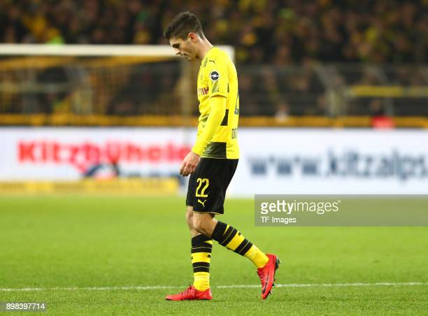 Christian Pulisic of Dortmund looks dejected during the Bundesliga match between Borussia Dortmund and TSG 1899 Hoffenheim at Signal Iduna Park on...
