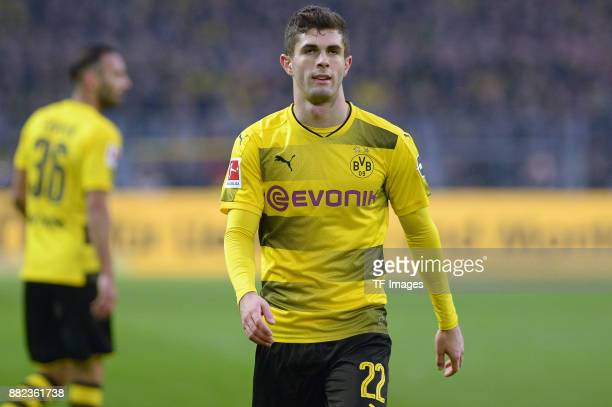 Christian Pulisic of Dortmund looks on during the Bundesliga match between Borussia Dortmund and FC Schalke 04 at Signal Iduna Park on November 25...