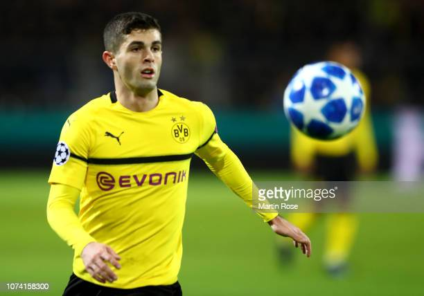 Christian Pulisic of Dortmund runs with the ball during the Group A match of the UEFA Champions League between Borussia Dortmund and Club Brugge at...
