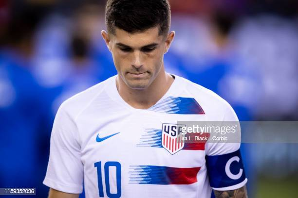 Christian Pulisic of the United States at the start of the CONCACAF GOLD CUP Quarterfinal match of USA v Curacao at Lincoln Financial Field on June...