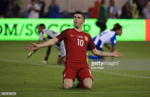 Christian Pulisic of the United States celebrates after scoring a goal against Honduras during their FIFA 2018 World Cup Qualifier at Avaya Stadium...