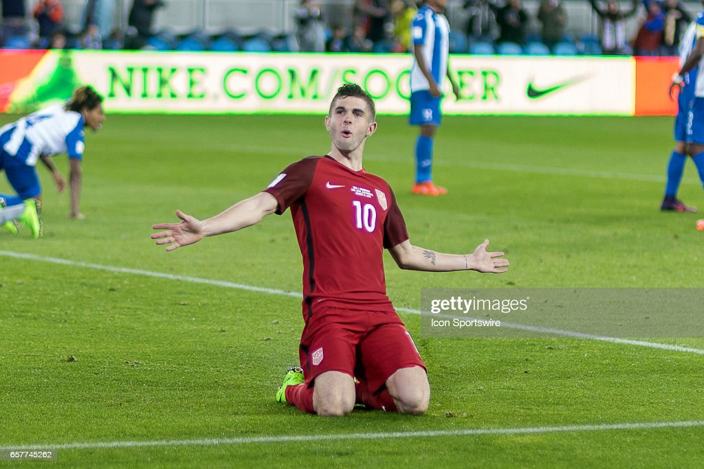 Christian Pulisic #10 of the United States celebrates after scoring a goal against Honduras during their FIFA 2018 World Cup Qualifier at Avaya Stadium on March 24, 2017 in San Jose, California.