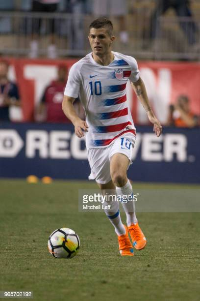 Christian Pulisic of the United States controls the ball during the friendly soccer match against Bolivia at Talen Energy Stadium on May 28 2018 in...