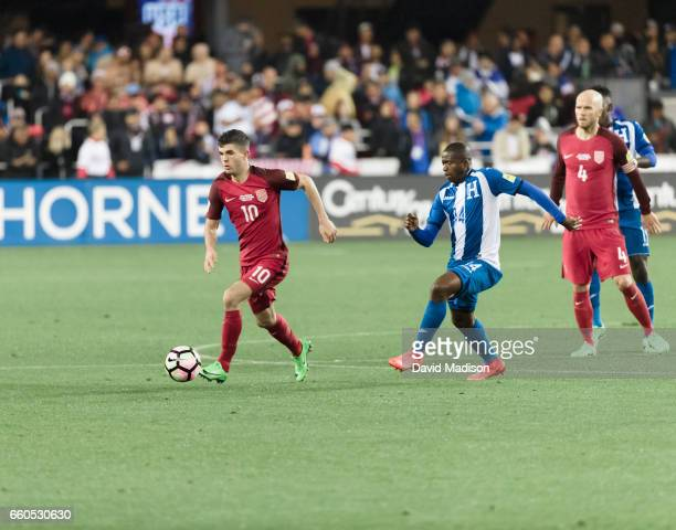 Christian Pulisic of the United States dribbles during the FIFA 2018 World Cup Qualifier match between the United States and Honduras on March 24...