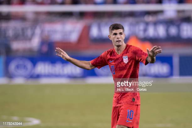 Christian Pulisic of the United States gives direction during the 1st half of the Friendly match between the United States Men's National Team and...