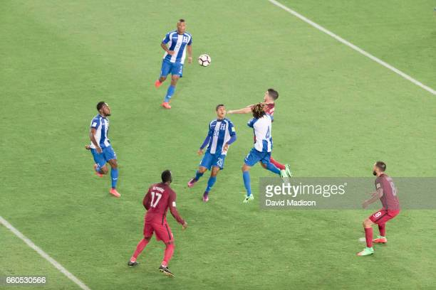 Christian Pulisic of the United States heads the ball during the FIFA 2018 World Cup Qualifier match between the United States and Honduras on March...