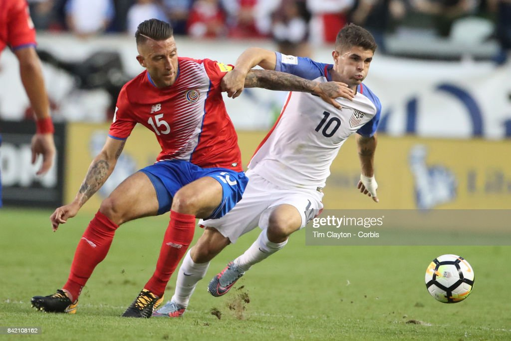 Christian Pulisic #10 of the United States is challenged by Francisco Calvo #15 of Costa Rica during the United States Vs Costa Rica CONCACAF International World Cup qualifying match at Red Bull Arena, Harrison, New Jersey on September 01, 2017 in Harrison, New Jersey.