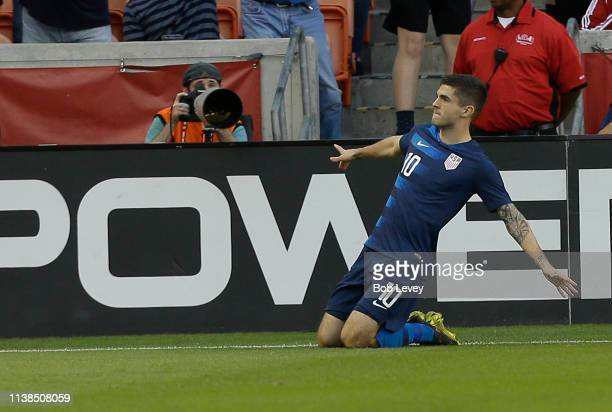Christian Pulisic of the USA celebrates after scoring during the first half against Chile at BBVA Compass Stadium on March 26 2019 in Houston Texas