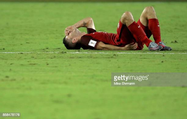 Christian Pulisic of United States reacts to a play during the 2018 FIFA World Cup Qualifying match against Panama at Orlando City Stadium on October...