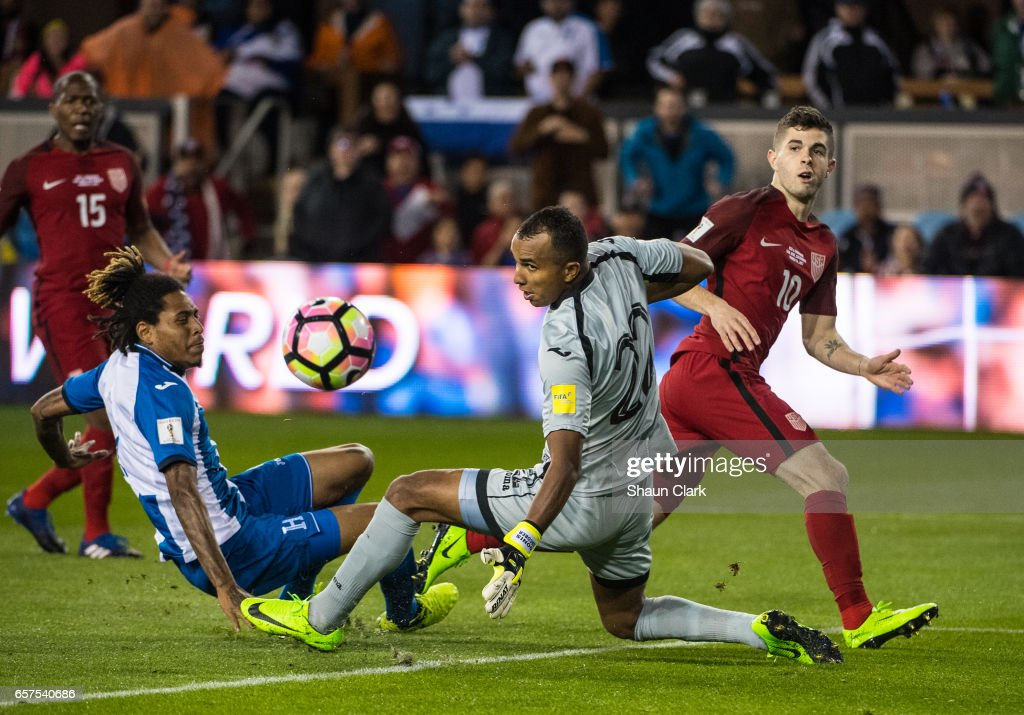Christian Pulisic #10 of United States takes a shot on goal and it is deflected by Donis Escober #22 of Honduras during the World Cup Qualifier match between the United States and Honduras at Avaya Stadium on March 24, 2017 in San Jose, California. The United States won the match 6-0