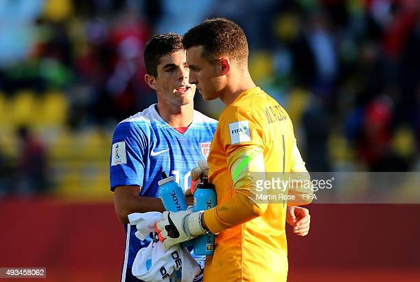 Christian Pulisic of USA comforts team mate Will Pulisic after the FIFA U17 Men's World Cup 2015 group A match between USA and Croatia at Estadio...